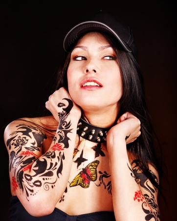 Young woman with body art . photo