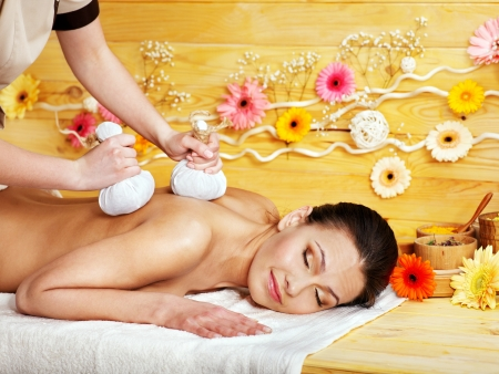 Woman getting herbal ball massage  in spa. Stock Photo - 14104710