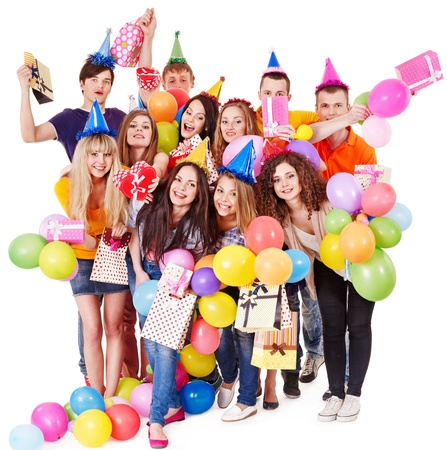 birthday adult: Group people with balloon on party  Isolated