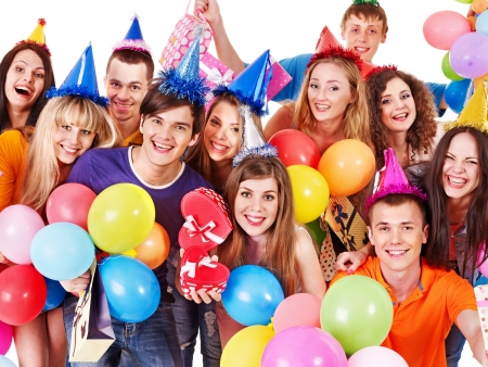 adult birthday: Group people in party hat with balloon. Isolated.