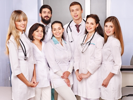 Happy group of doctor at hospital. photo