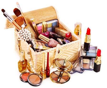 Decoratieve cosmetica in make-up doos. Stockfoto
