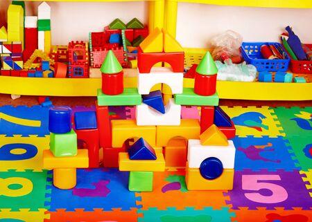 nursery: Interior of kindergarten with toy. Stock Photo