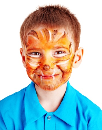 face paint: Child boy with paint of face. Make up. Stock Photo