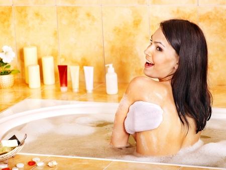 wisp: Young beautiful woman take bubble  bath. Stock Photo