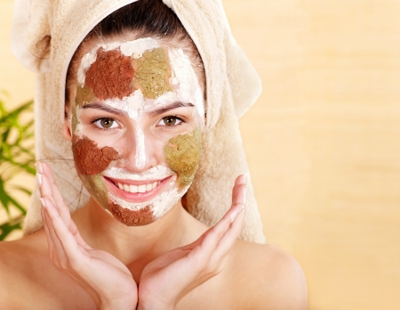 exfoliate: Natural homemade clay  facial mask. Stock Photo