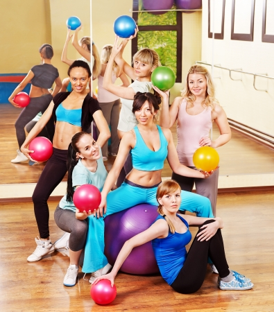 Women group in aerobics class.  Fitness ball. photo