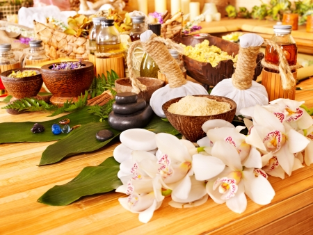 Spa still life with leaf and massage stone. Stock Photo - 14530437