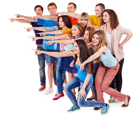grupo de personas: Las personas del grupo que apunta. Aislado.