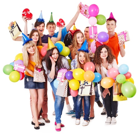 Group people with balloon on party. Isolated. Stock Photo - 14535752