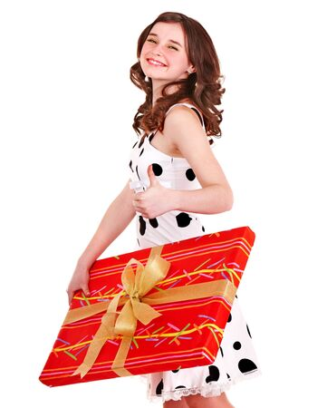 Girl with big red gift box. Isolated. photo