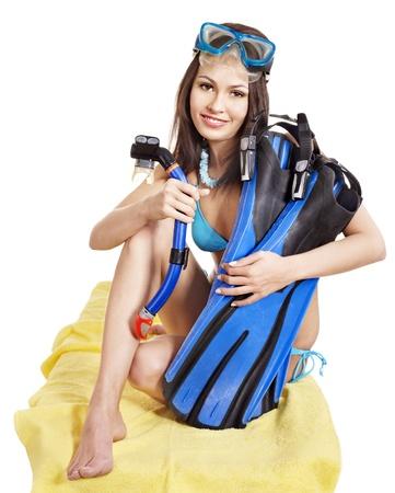 aletas: Chica con equipo de buceo. Aislado. Foto de archivo
