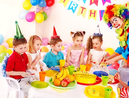 Group of child happy birthday party . photo