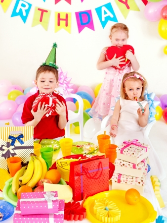 Group of children happy birthday party . photo