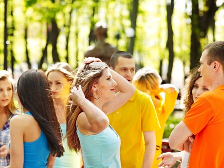 Group happy young people in summer outdoor. Stock Photo - 14741187