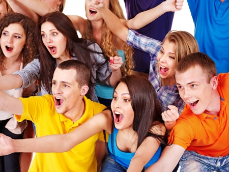 Happy group sport fan cheer for. Isolated. Stock Photo - 14743435