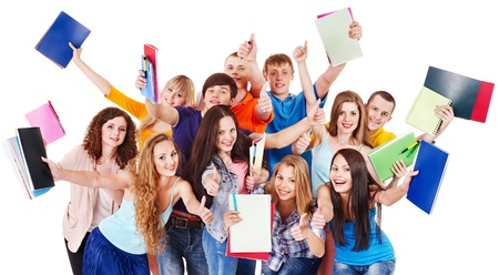 Group student with notebook isolated. Stock Photo - 14751660