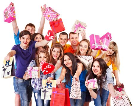 Group people with gift box on party. Isolated. Stock Photo - 14751665
