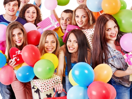 birthday adult: Group happy people with balloon on party. Isolated.