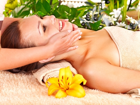 Woman getting facial massage in tropical beauty spa. Stock Photo - 14743345