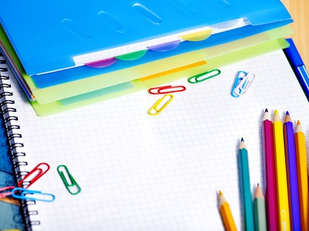 large group of items: School  office supplies with color pencil.