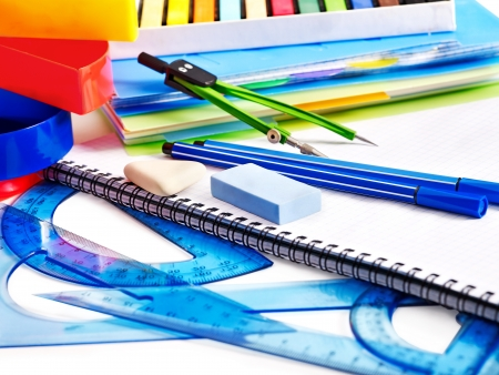School  office supplies with compasses. photo