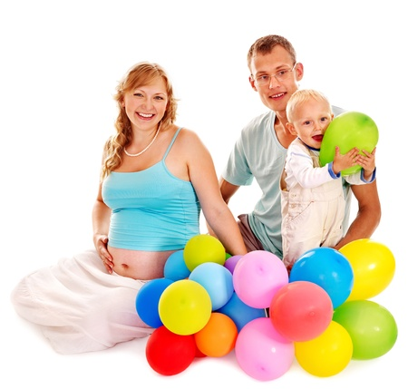enceinte: Family with pregnant woman and child celebrate first birthday.