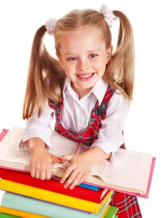 young schoolgirl: Happy beauty child with stack book. Isolated.