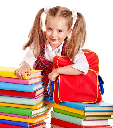 Happy child with backpack holding book. Isolated. Stock Photo - 14743217