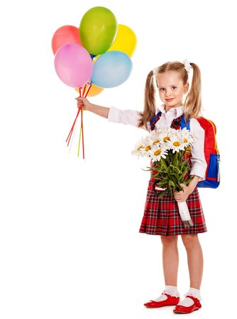 Child with backpack holding balloon. Isolated. photo