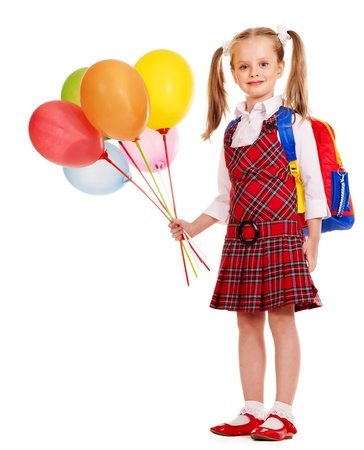 Child With Book Holding Balloon. Isolated On White. Royalty Free ... b63cbc3550c7a