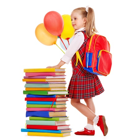 primary colours: Child with stack book holding balloon. Isolated.