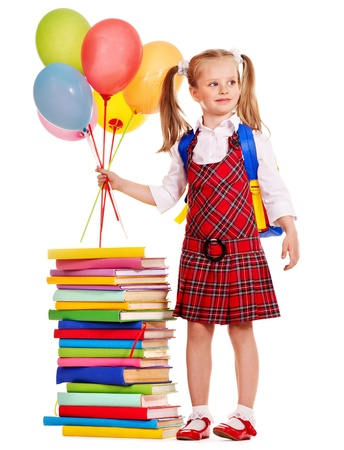 Child with book holding balloon. Isolated. photo
