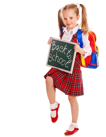 knapsack: Happy child with backpack holding banner. Isolated. Stock Photo