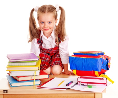 school children uniform: Child with school supplies and book. Isolated.
