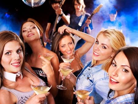 Woman on disco in night club. Lighting effects. Stock Photo - 14751663