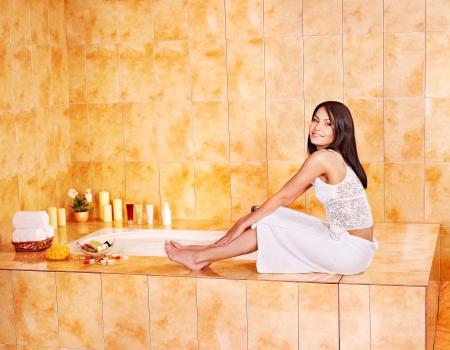 sud: Woman in bathroom take bubble  bath.
