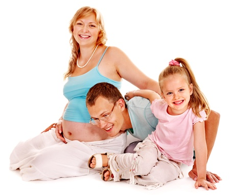 enceinte: Pregnant woman and happy family with child. Isolated. Stock Photo