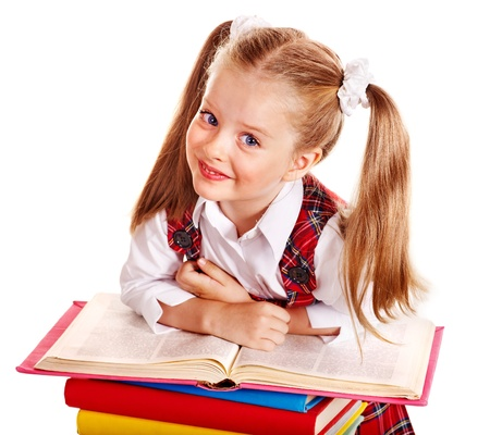 primary colours: Beautiful child with stack book. Isolated.