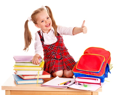 back to school supplies: Child with school supplies and book. Isolated.