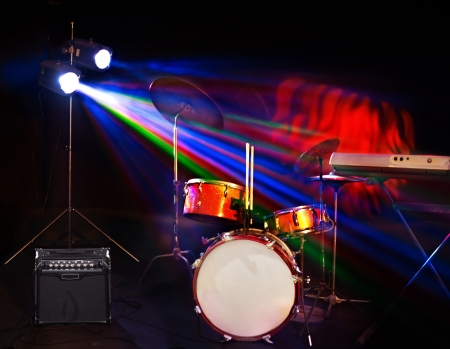 lighting effects musician: Musical instrument on stage. Concert stage. Stock Photo