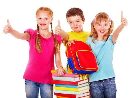 satchel: Group of school child with book.  Isolated. Stock Photo