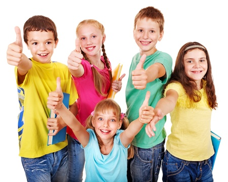 happy children: Group of teen school child with book thumb up.  Isolated.