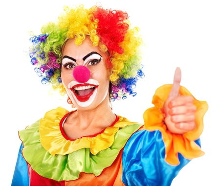 funfair: Portrait of clown with makeup thumb up. Stock Photo