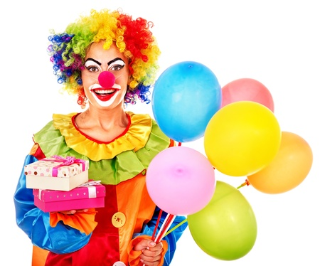circus clown: Portrait of clown with balloon. Isolated.