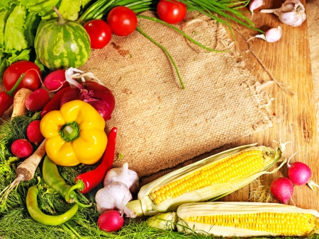 cutting vegetables: Fresh vegetable on wooden boards. Stock Photo