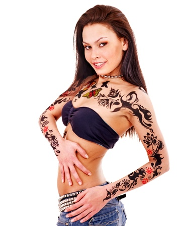 sexy tattoo: Young woman with body art . Isolated.