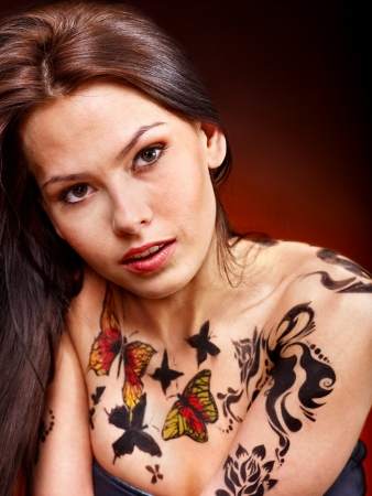 body art: Portrait of young woman with body art .