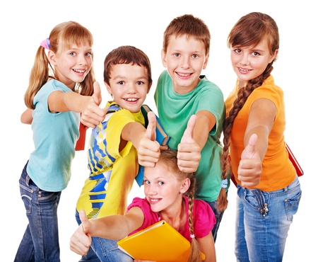 schoolchildren: Group of teen school child with book thumb up.  Isolated.
