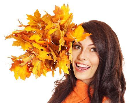 Woman holding orange leaves. Isolated. Stock Photo - 15290467